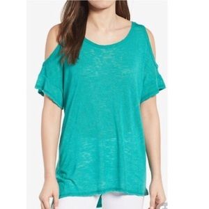 Bobeau turquoise cold shoulder top